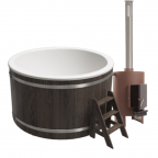 Купель композитная круглая с печью 40кВт Классик Термоясень