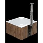 Купель с печью композитная квадратная Quattro Hot термоясень