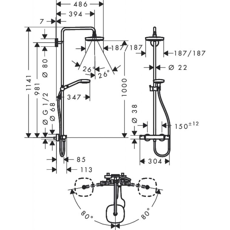 Душевая стойка с термостатом Hansgrohe Croma Select Е 180 2jet, 27256400