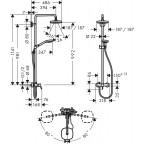 Душевая стойка со смесителем Hansgrohe Croma Select E 180 Showerpipe 2jet, 27258400