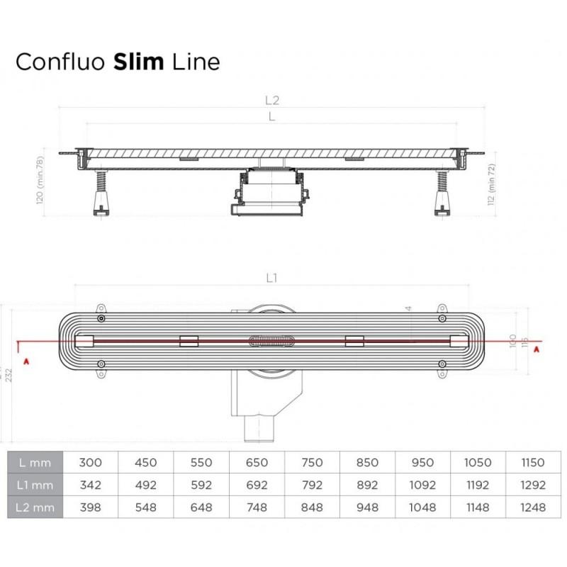 Душевой лоток Pestan Confluo Slim Line 750+, 13100028