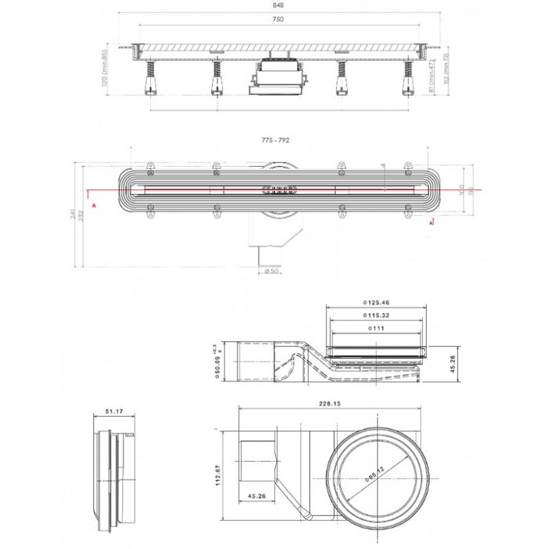 Душевой лоток Pestan Confluo Slim Line 750, 13100034