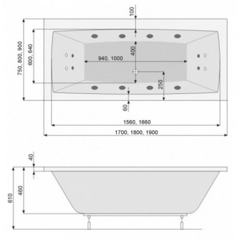 Ванна акриловая Poolspa Vita с ножками