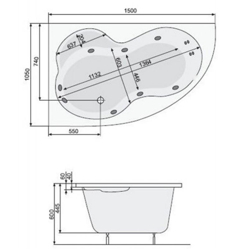 Ванна акриловая Poolspa Mistral L с ножками
