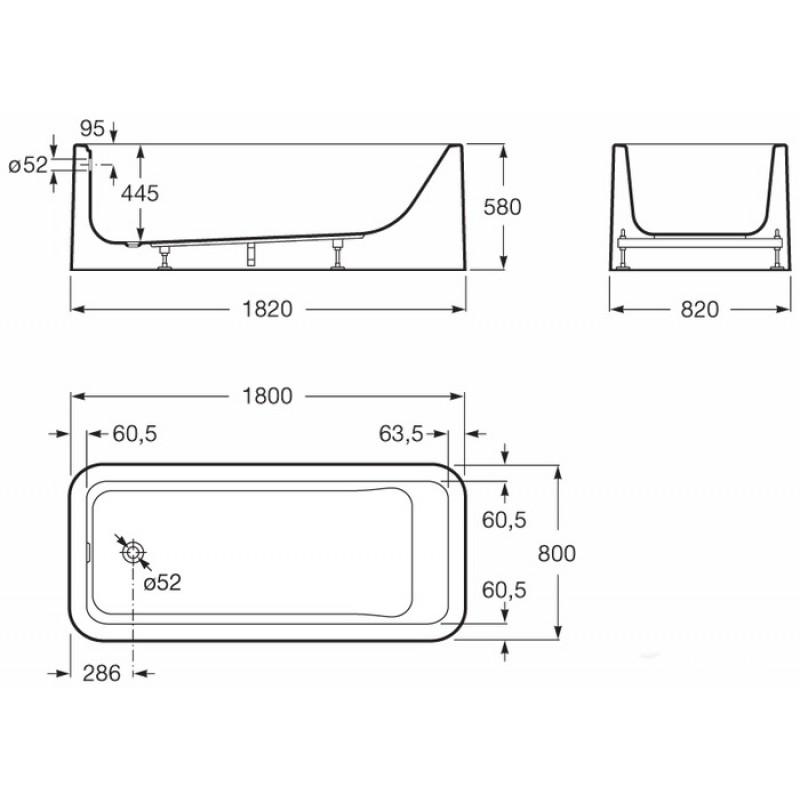Акриловая отдельностоящая ванна Roca Element, 24T439000