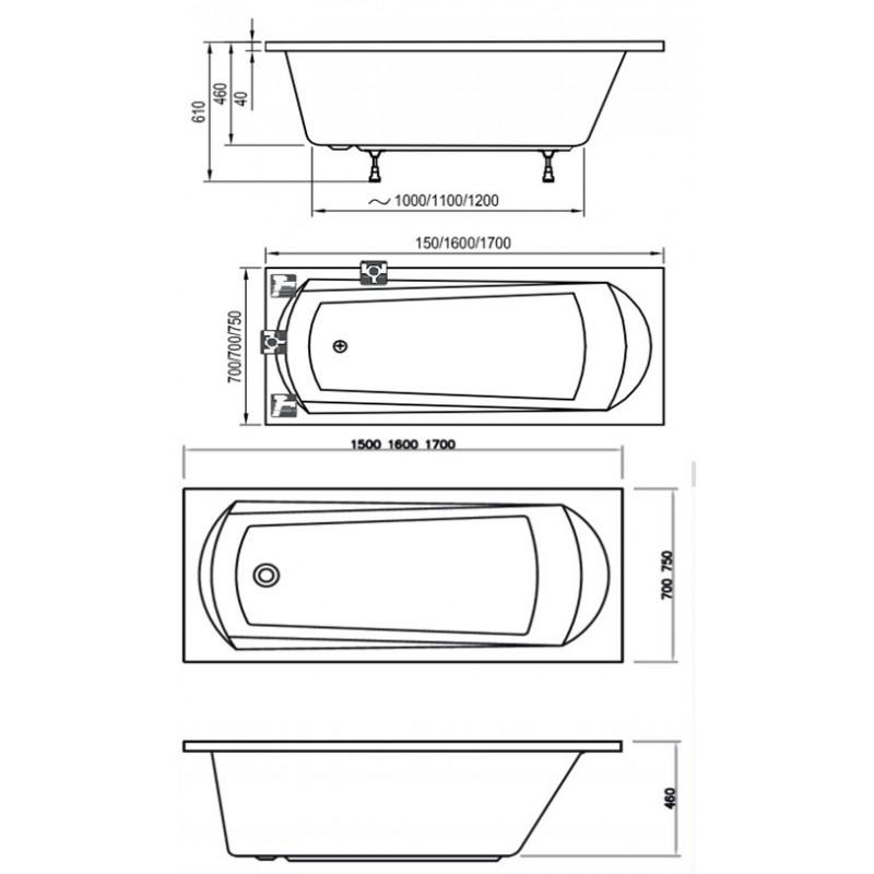 Ванна акриловая Ravak Domino, C631000000