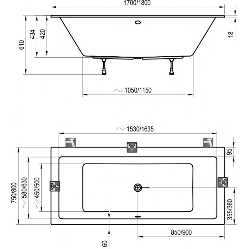 Ванна акриловая Ravak Formy 01 Slim, C691300000