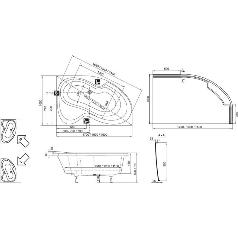 Ванна акриловая Ravak Rosa II L, C221000000