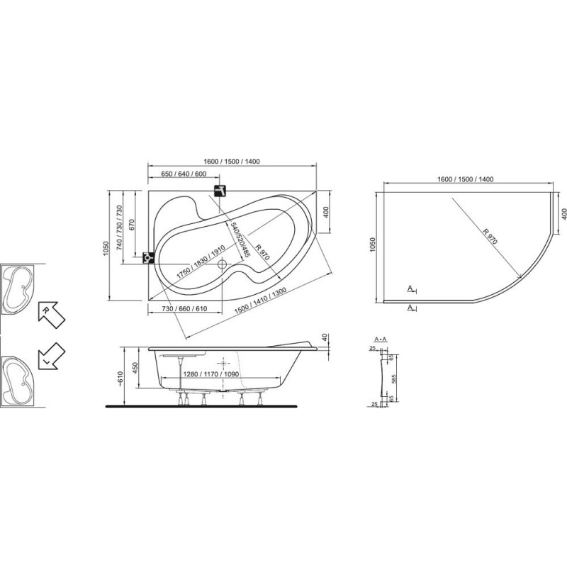 Ванна акриловая Ravak Rosa II R, CJ21000000