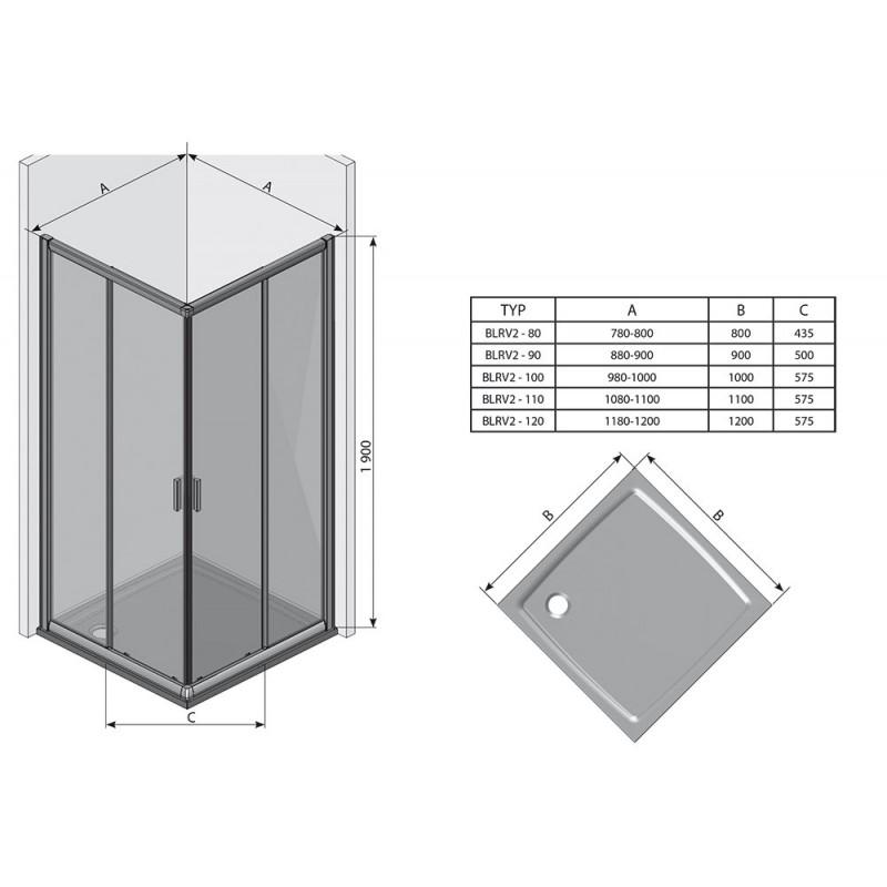 Душевая дверь Ravak Blix BLRV2K-90