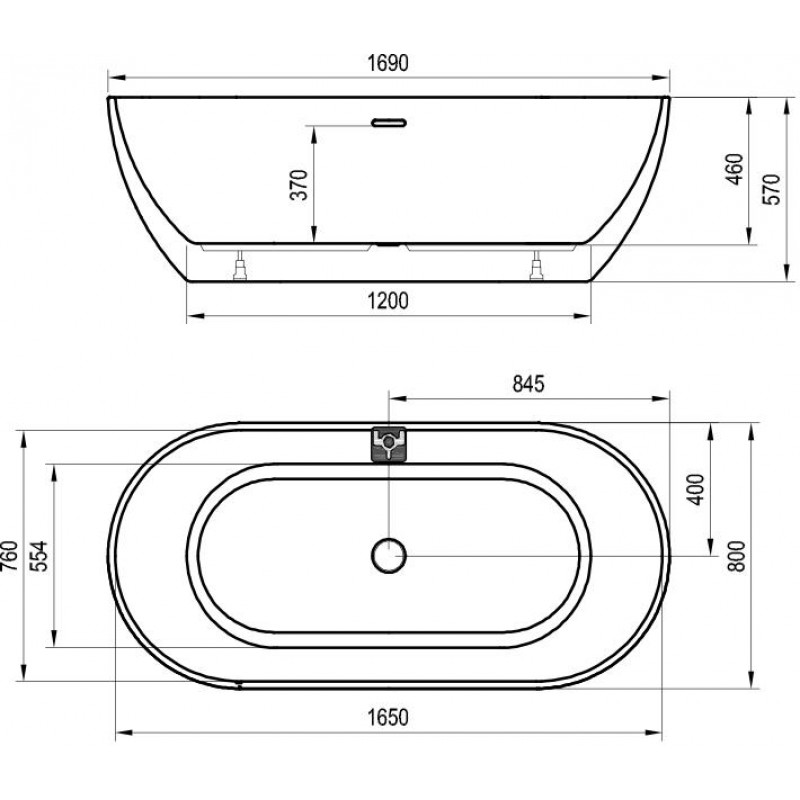 Ванна акриловая отдельностоящая Ravak Freedom W, XC00100024
