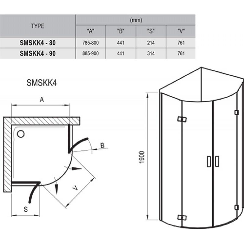 Душевой уголок Ravak Smartline SMSKK4-80