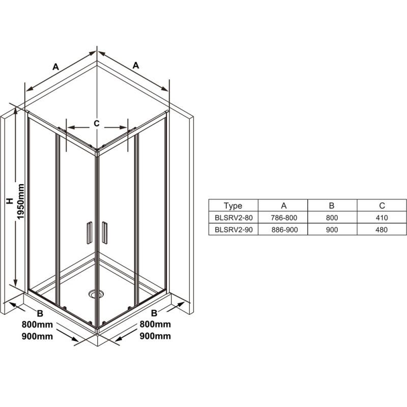 Душевой уголок четырехэлементный Ravak BLSRV2-80, X1LM40C00Z1