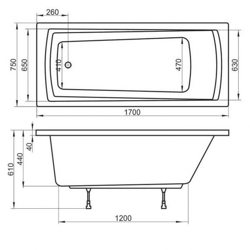 Комплект ванна Ravak DOMINO PLUS + Опора 75 + Сточный комплект