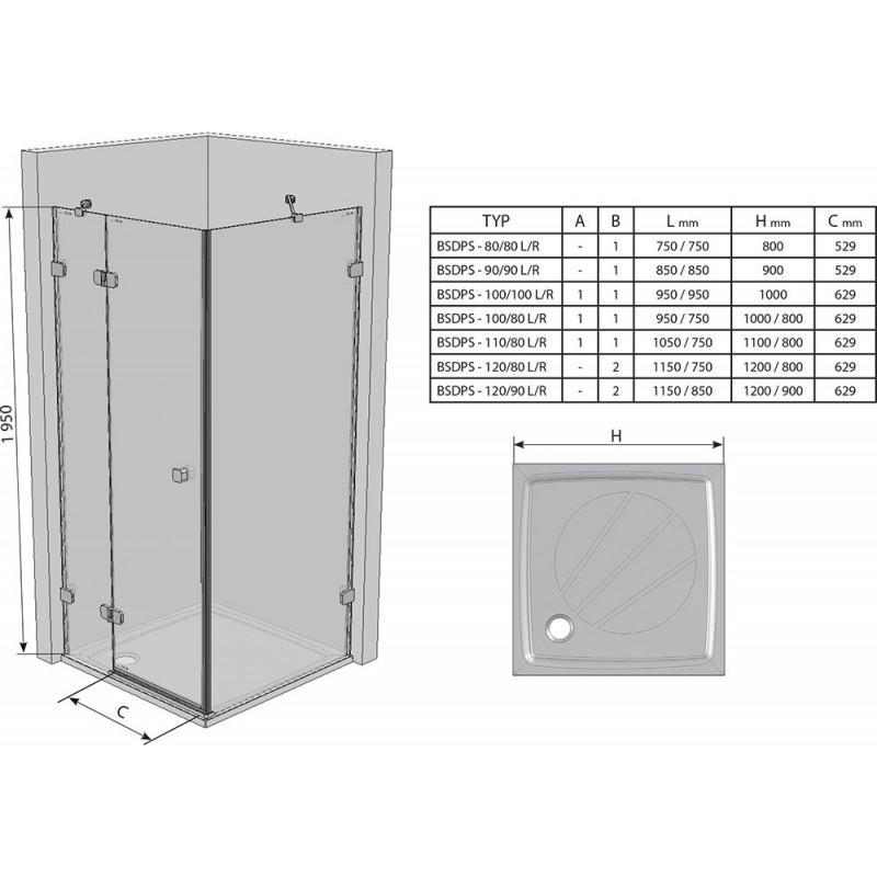 Душевой уголок Ravak Brilliant BSDPS-120/90 R