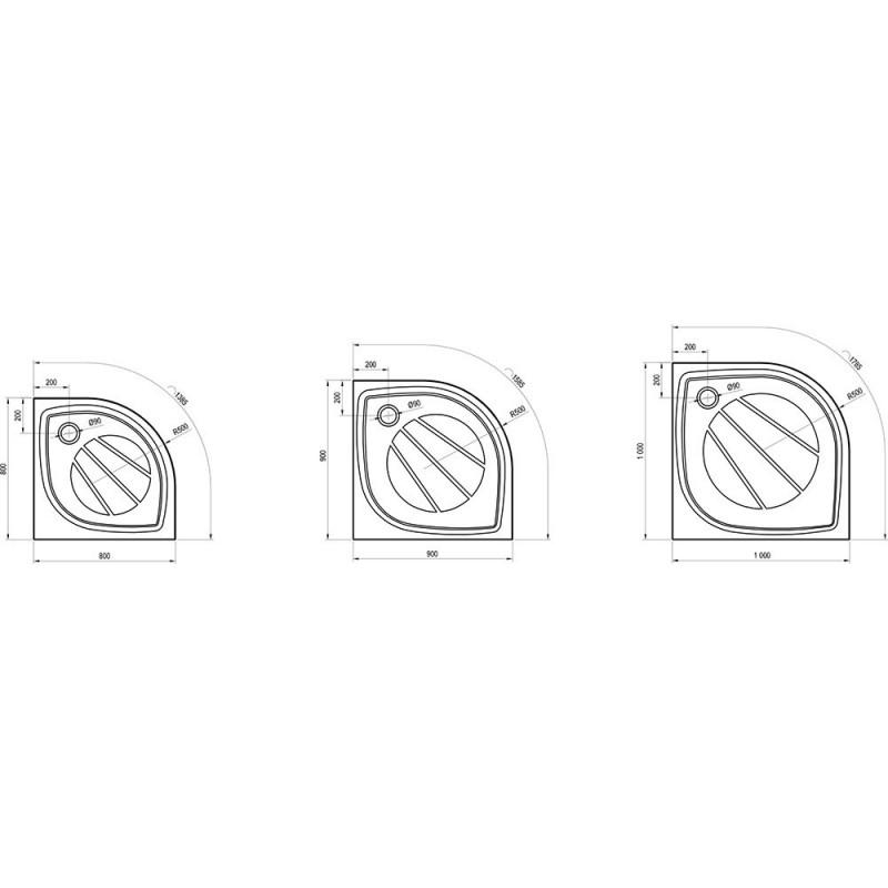 Душевой поддон Ravak Elipso Pro 90, XA237701010
