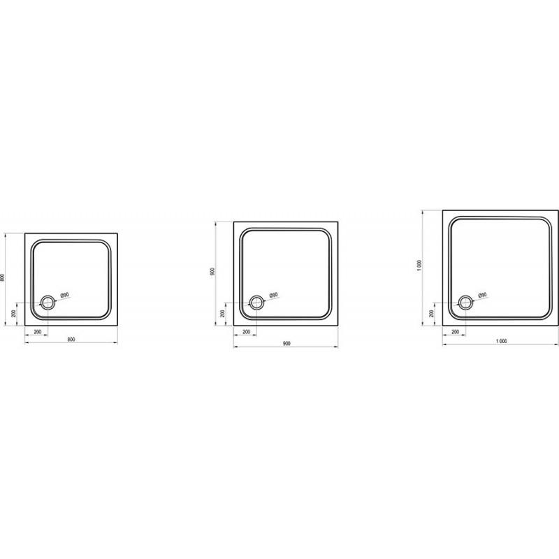 Душевой поддон Ravak Perseus Pro 80 Chrome, XA044401010
