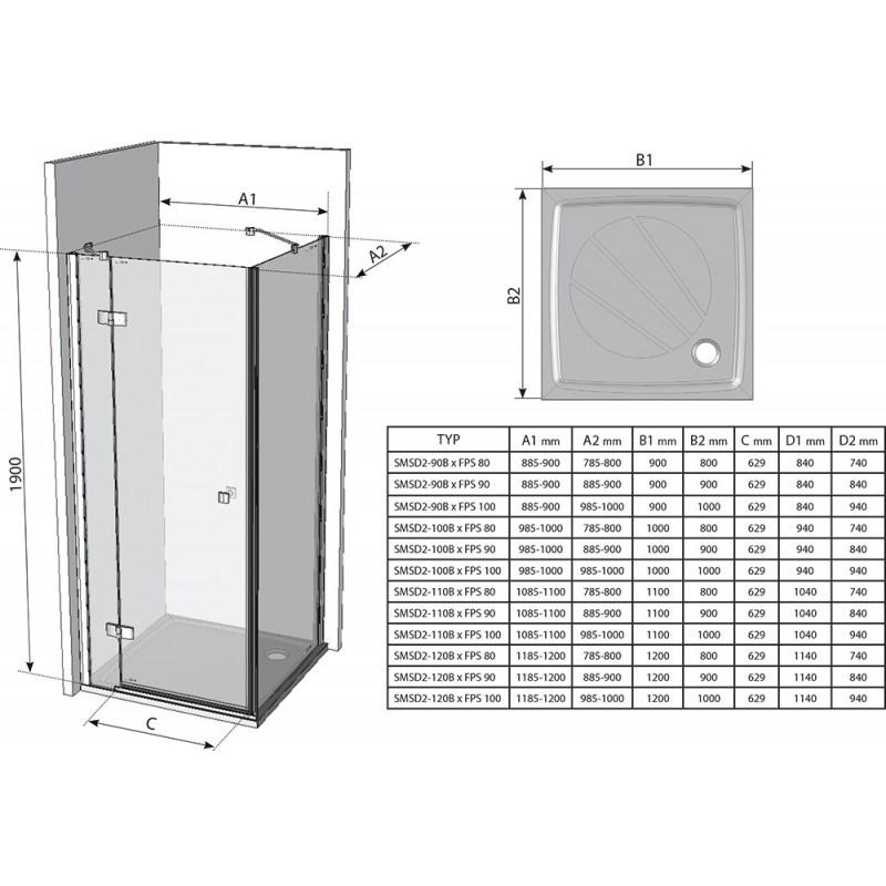 Душевая стенка Ravak Smartline SMPS-90 R, 9SP70A00Z1