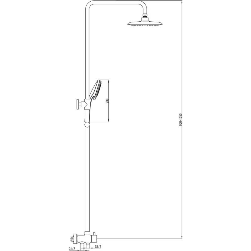 Душевая двойная стойка Ravak DS 090, X07P232