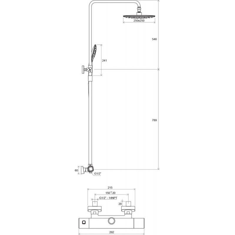 Душевая стойка Ravak TD 091.00/150, X070103