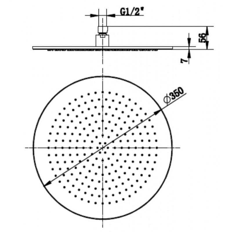 Верхний душ Villeroy&Boch, универсальный 350, TVC00000300076