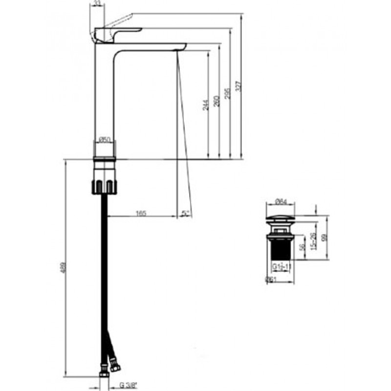 Высокий смеситель для умывальника с д/к Villeroy&Boch O.Novo 240