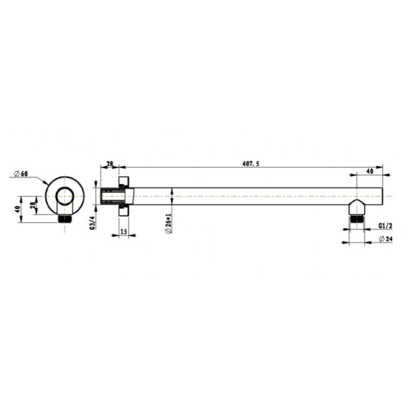 Держатель боковой для потолочного душа Villeroy&Boch Universal, 40 см, TVC00045351076