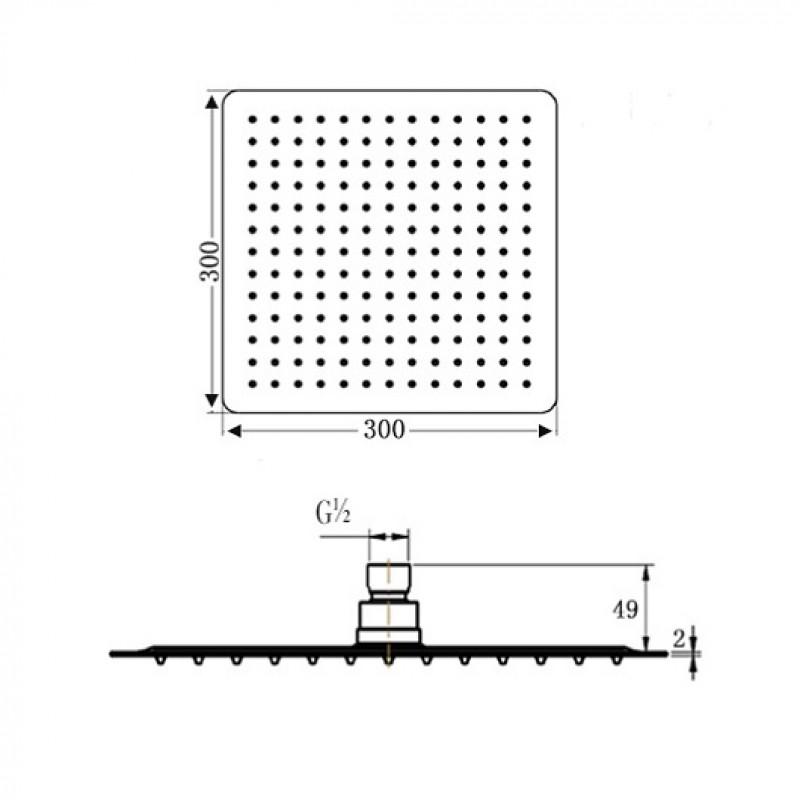 Верхний душ Villeroy&Boch Universal, 30 см, TVC00040230061